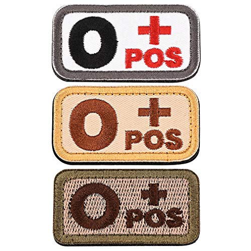 FaithHeart Blutgruppen Patch O Positiv Blutgruppe Emblem Bestickter Aufnäher mit Klettverschluss Klett-Patch Blutgruppe O