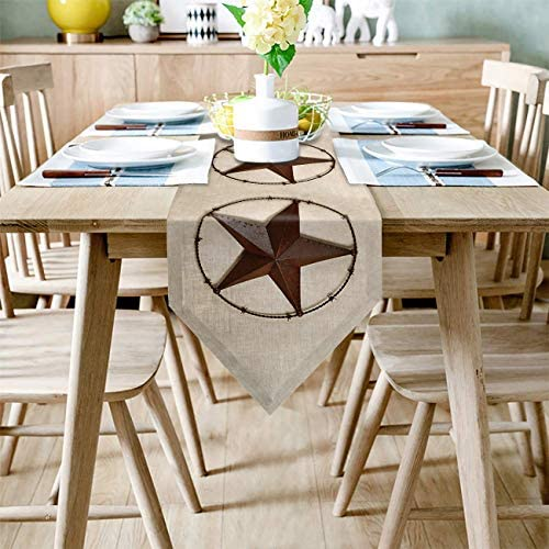 FAMILYDECOR Linen Burlap Table Runner Dresser Scarves Western Country Texas Star Kitchen Table product image