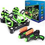 USA Toyz Astroshot Gyro Glow Rotating Shooting Game - Nerf Compatible Rotating Spinning Targets for Shooting with 2 Foam Blaster Toy Guns, 14 Targets, 24 Soft Foam Darts, and 2 Foam Dart Holders