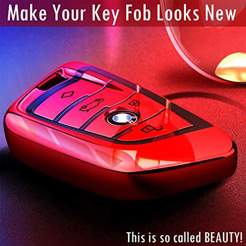 Key Fob Case for BMW 2 5 6 7 Series X1 X2 X3 X5 X6 Premium Soft TPU Anti-dust Full Protection COMPONALL for BMW Key fob Cover Red