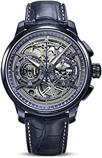 Maurice Lacroix Masterpiece Chronograph Skeleton 45mm Watch | Blue/Blue Leather