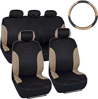 Simply Covered – Accent Car Seat Covers & Steering Wheel Cover – Polyester Comfort Cloth (Beige)
