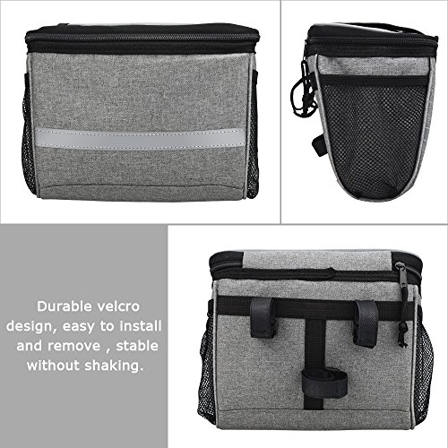 Bicycle BicycleStoreCycling Basket Handlebar Bag with Sliver Grey Reflective Stripe Outdoor Activity Pack Accessories Black 3.5L