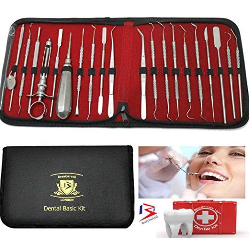 Dental-Kit & Scaler, 20 Stück Edelstahl- Spiegel & Zahn Schaber Set mit Baumwolle Twizers- Syringe & Elevator + Leder -Speicher-Fall - Ideal für Zahnärzte & persönlichen - Dental- Pflege