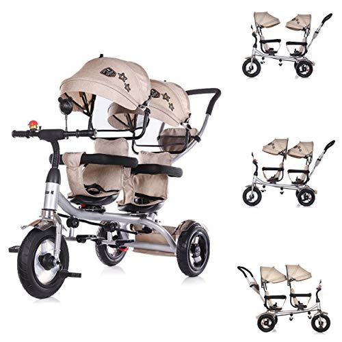 Chipolino Tricycle Dreirad 2Play Zwei Kinder bis 50 kg Luftreifen Lenkstange , Farbe:beige