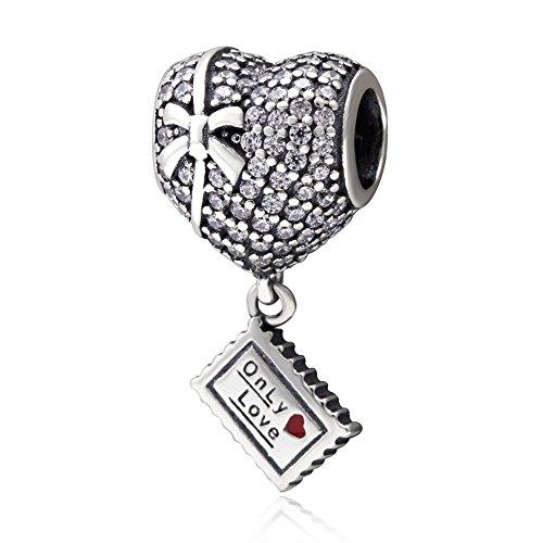 Colgantes de San Valentín con forma de corazón con lazo, plata de ley 925, diseño de letras de amor, para pulseras de estilo europeo