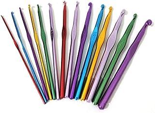 seguryy Lot de 14 crochets de tricot en aluminium Multicolore aiguilles à tricoter double fil Craft 10 mm