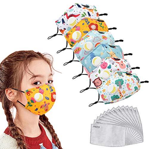 6 Paquetes de Reutilizables Lavables niños,con 12 Piezas de Filtro de carbón Activado PM2.5, Bandana para ProteccióN Facial con Válvula de respiración