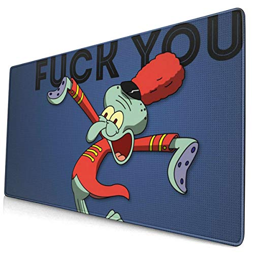 Spongebob Mouse Pad with Stitched Edge Premium-Textured Mouse Mat Rectangle Non-Slip Rubber Base Oversized Gaming Mousepad,for Laptop Computer & PC 15.8X29.5 Inches