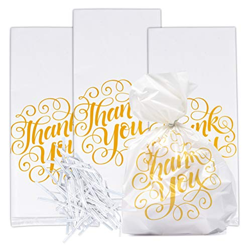 100 Thank You Cellophane Bags Wedding Plastic Treat Favor Bag White with Gold Anniversary Baby Shower & Birthday Party Supplies Decorations For Adults Teens Kids Candy Goody Grab Bag By Gift Boutique