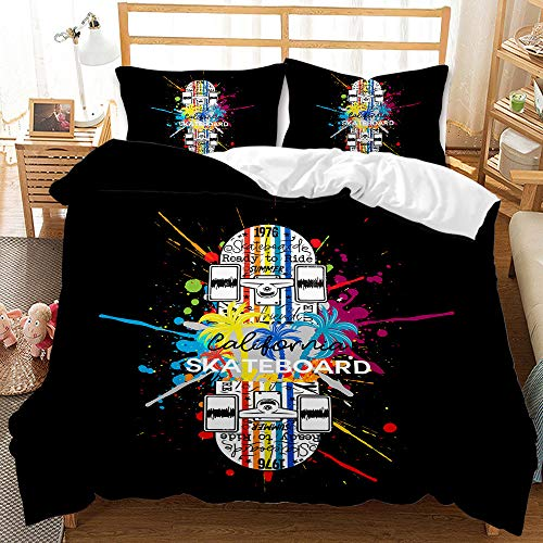 Genaric 3D Digital Printing Duvet Cover Sets Skateboard Element Design Bed Three-piece Custom 3-piece Set (BHW61,Super King)