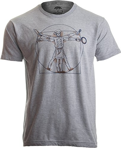 Vitruvian Chef | Funny Cook Restaurant Kitchen Worker Food Cooking Humor T-Shirt-(Adult,L) Heather Grey