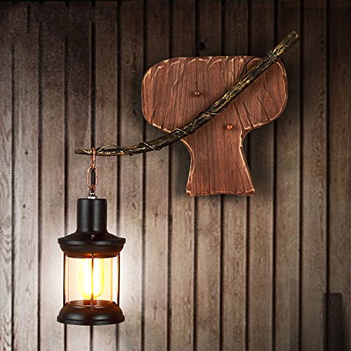 Good thing Lampadaire loft rétro chambre salon lampe de mur en bois massif industriel vent créatif hôtel balcon allée applique E27