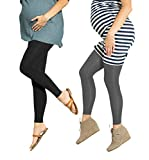 Product Image of the Preggers 2 Pack 10-15mmhg Footless Maternity Compression Leggings (Black/Coal M)
