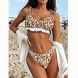 maozuzyy Bikinis Bañador Mujer Traje De Baño Sexy para Mujer, Bikini De Cintura Alta para Mujer, Conjunto De Bikini con Tanga, Traje De Baño Floral para Mujer, Traje De Baño con Volantes-B270W01_S
