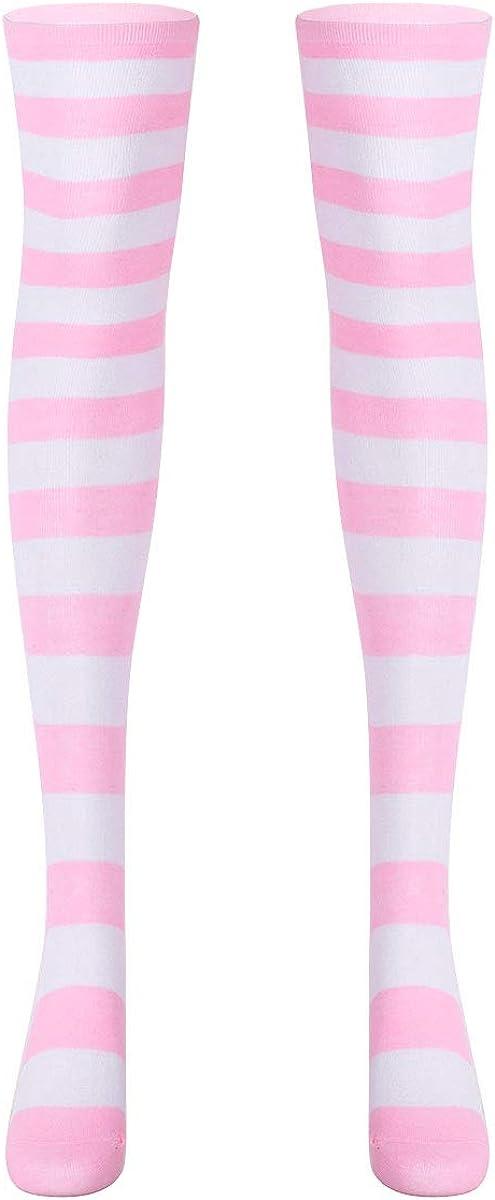 YiZYiF Women Solid Thigh High Over Knee Stocking Long Socks Girls Fashion Bright Color Striped Leg Warmer Socks