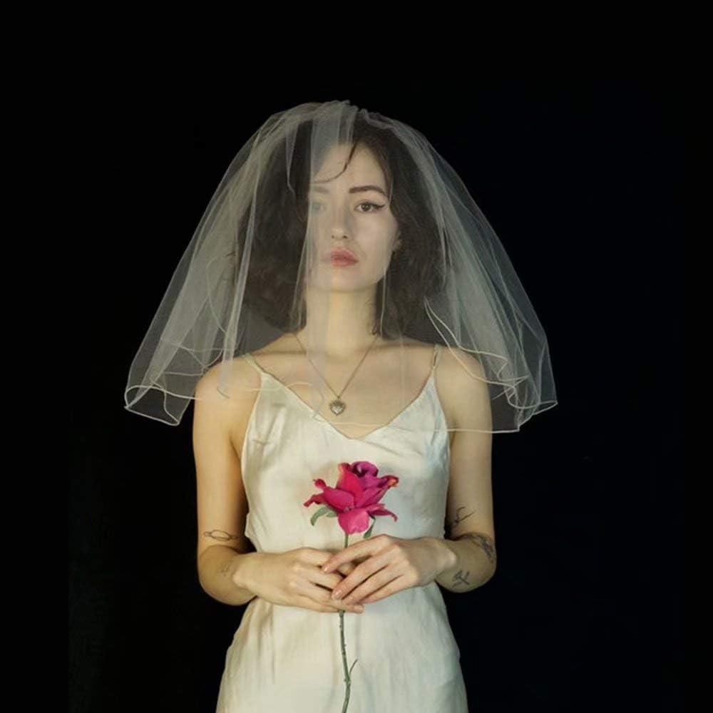WEIFAN Bridal Veil - Double-Layer Plain Yarn Cover 45cm Short Wedding Veil - Travel Veil Simple Fluffy Wedding Headdress