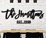 """Personalized Last Name Wood Sign with Established Date by Panhandle Mercantile   Custom Cut & Finished   Customizable Font   Choose from our 90+ Color Options   Up to 72"""" Wide"""