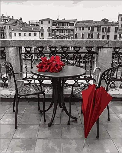 ölgemälde malen nach zahlen DIY Malen nach Zahlen Kits schwarz und weiß Stadt Architektur Landschaft roter Regenschirm Ölfarbe Zeichnung Farbe unten Leinwand mit Pinsel 16 x 20 Zoll rahmenlos DIY dig