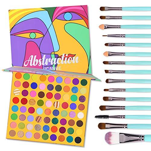 UCANBE Makeup Sets - Rainbow Eyeshadow Palette + 15pcs Blending Make Up Brushes Set - 72 Shades Glitter Shimmer Matte Neon Colorful Eye Shadow Pallet