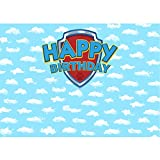 Allenjoy Blue Sky Puppy Dog Backdrop for Bday Pictures Cartoon White Clouds Shield Baby Boys Girls Birthday Party Cake Table Banner 7x5 Vinyl Photo Booth Background Photography Props