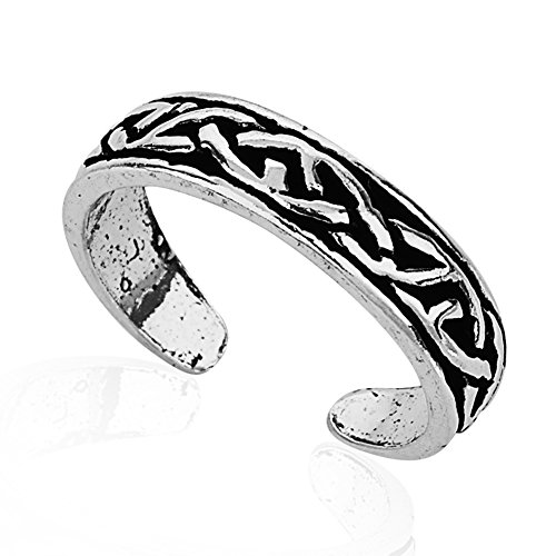925 Sterling Silver Simple Symbolic Celtic Knot Pattern Open Ended Band Toe Ring