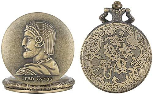 YQGOO Charmante iranische Cyrus The Great Pattern Case Uhr für Männer, Premium Quarz Taschenuhren für Männer, Elegante Alu Halskette Chain Taschenuhr für Freunde
