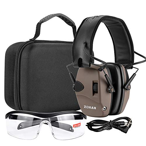 EM054 Electronic Shooting eye and ear protection Set, Noise Reduction Sound Amplification Safety Ear Muffs for Gun Range-Tan