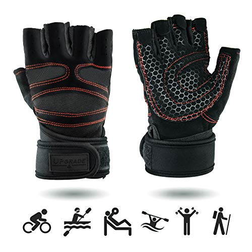 UPGRADE L Premium Sporthandschuhe mit Handgelenkschutz | Atmungsaktiv | rutschfest | für Herren & Damen | mit Handgelenk Bandage | Fitness Handschuhe | Crossfit Handschuhe | Trainingshandschuhe