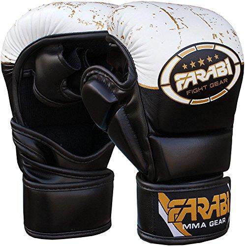 Farabi Sports 7-oz MMA Gloves Semi-pro Hybrid Open Hand Punching Training Gloves also Compition (Black/White, L/XL)