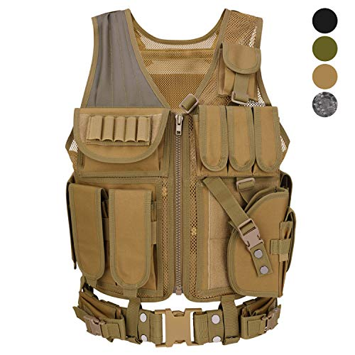 Barbarians Tactical Molle Vest Military Airsoft Paintball Vest Assault Swat Vest Adjustable Lightweight(Tan)