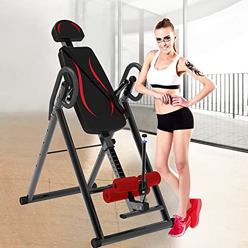 DFDGBD Inversion Table, Foldable Space-Saving Fitness Chiropractic Back Stretcher Heavy Duty Reflexology Mat, with Adjustable Headrest, Reversible Ankle Holders and Protective Belt, Max Load 300 lbs