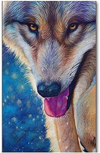 HXXCB Kit de pintura de diamantes,de pintura de diamante por número arte completo bordado punto de cruz cuadros arte decoración de la pared del hogar 30X40Cm Estrella Lobo Animal
