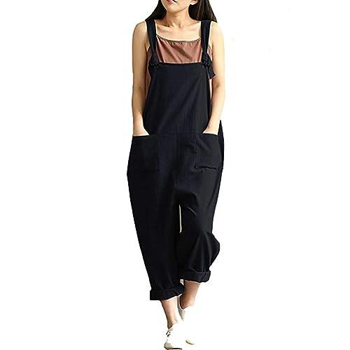 6d4d5548d5 Women s Casual Jumpsuits Overalls Baggy Bib Pants Plus Size Wide Leg Rompers