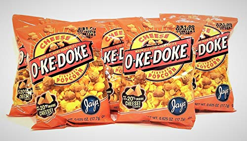 Best Price JAY'S O'KE DOKE Cheese Flavored Popcorn A Chicago Original 10 Pack .625 oz bags