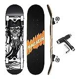 NACATIN Skateboard Komplettboard für Kinder Jungendliche und Erwachsene mit T Tool Werkzeug ABEC-9 Kugellager 92A Anti-Rutsch-Glatt und Mute Rad Funboard für Anfänger (schwarz)