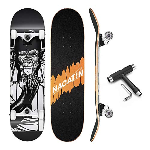 Nacatin - Tavola da skateboard per bambini, giovani e adulti con cuscinetti a sfera ABEC-9, 92A antiscivolo, liscia, muto funboard di ruota per i principianti, Nero