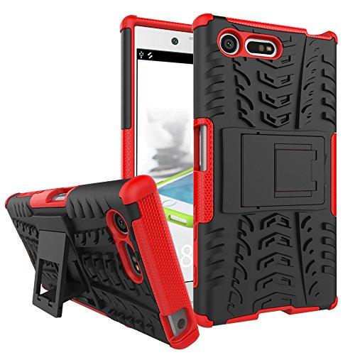 Funda para Sony Xperia X Compact, Robusta Carcasa Híbrida TPU + PC de Doble Capa Anti-arañazos Caso con Soporte Plegable, Armor Heavy Duty Case Cover Duradero Protección Neumáticos Patrón, Rojo