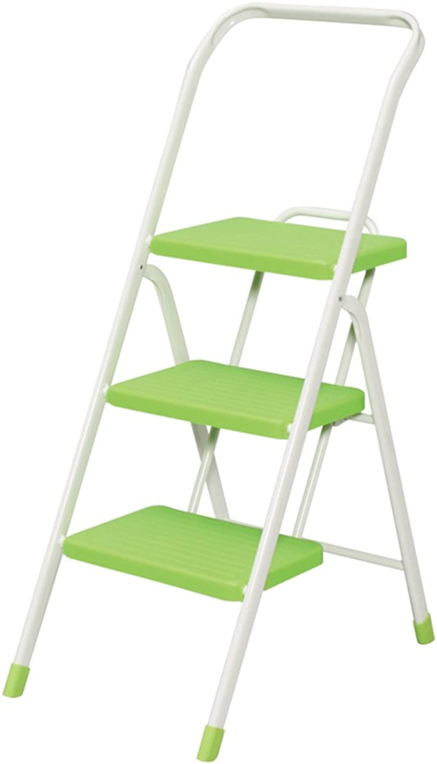 PEILIAN Step Stool, Household Folding Ladder, Safe Ascending Ladder, Three-step Metal Ladder, Mobile Anti-skid Ladder (color   Green)