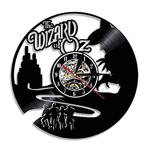 HCPGZ Wanduhr Schallplatte Upcycling 3D Der Zauberer Von Oz Design Wanduhr Deco Vintage Familienzimmer Dekoration Kunst GeschenkDurchmesser 30 cm
