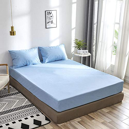 GUANLIDE Lenzuola Matrimoniale Cotone,Waterproof And Breathable Bed Sheet, Fitted Sheet, Bed Cover Silk,Sheets Mattress Cover Suitable for Single Double King Size Bed@Sky Blue_200*200 * 40cm