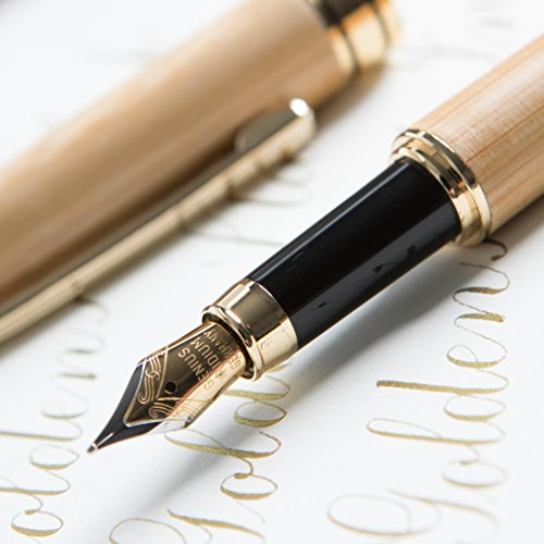 """[Top Rated Bamboo Fountain Pen] Designer Luxury Fountain Pens by Golden State Ink - our""""Napa Valley Collection"""" - Best 100% Handcrafted Pen Set with Case- Perfect for Gifts - Calligraphy Pen �"""