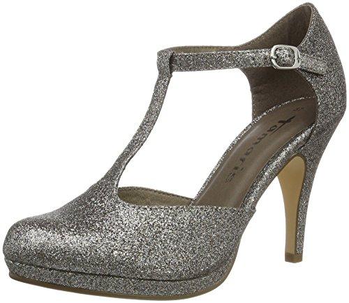 Tamaris 24428, Zapatos de Tacón para Mujer, Plateado (Platinum Glam 970), 40 EU