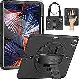 SEYMAC iPad Sturdy Case for 2021 iPad Pro 12.9 5th Gen (A2378 A2461 A2379 A2462), 2020 iPad Pro 12.9 4th Gen (A2229 A2069 A2232 A2233), 2018 iPad Pro 12.9 3rd Gen (A1876 A2014 A1895 A1983) Black/Black