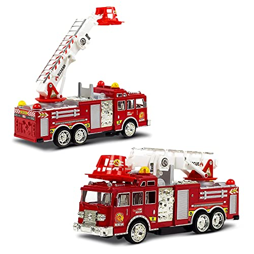 Toysery Fire Toy Trucks, Extending Rescue Rotating Ladder Friction Power Lights and Siren, Bump and Go Action Fire Truck Kids Toy, Pull Back Construction Fire Engine Toy Trucks, Fire Trucks for Boys