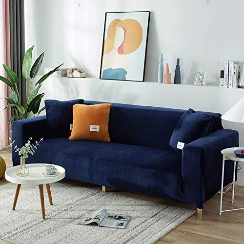 Funda de sofá de Terciopelo Easy Fit, Fundas de sofá Suaves universales de Gran Elasticidad, Funda Protectora de Muebles elástica y Lavable Azul Oscuro 1 Plaza