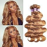Aigemei Hair Honey Blonde 3 Bundles Body Wave (10 12 14 Inch) Virgin Peruvian Wavy Hair Body Wave Human Hair Bundles Color #27 100% Unprocessed Virgin Human Hair Weave Extensions
