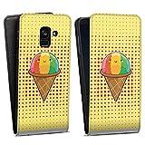 DeinDesign Flip Hülle kompatibel mit Samsung Galaxy A8 Duos 2018 Tasche Hülle Ice EIS Rainbow