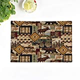 Topyee Set of 4 Placemats Cottage Rustic Country Log Cabin Lodge Charming Warm Comfortable 18x12.5 Inch Parties Decor Non-Slip Washable Place Mats for Kitchen Dinner Table Mats
