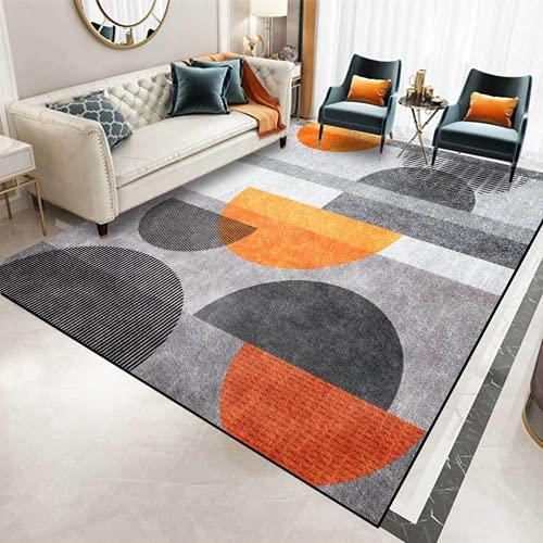 KIKCY Tapis rectangulaire moderne et durable pour salon, chambre à coucher, tapis antidérapant orange, noir, gris, orange, rouge, dégradé géométrique (160 x 230 cm)